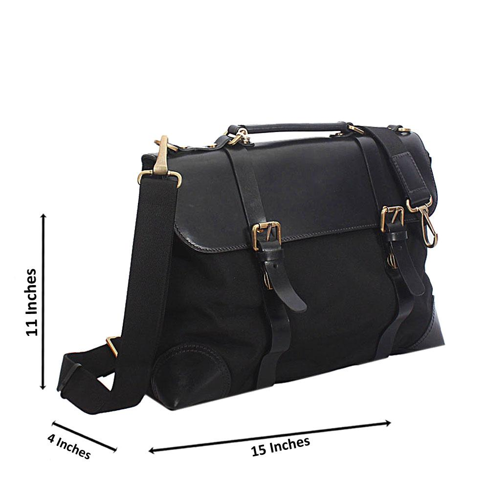 Black Leather and Water Proof Fabric and Leather Briefcase