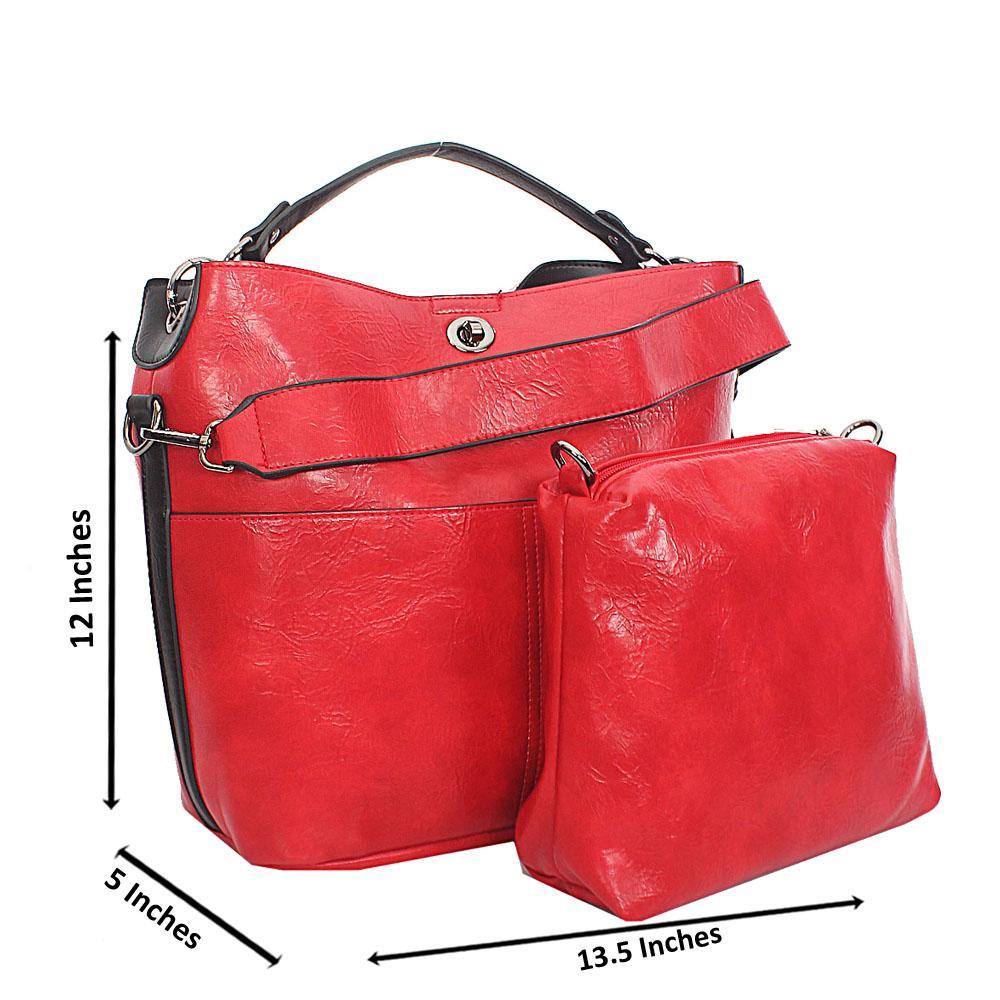Red Twin Pocket Tuscany Leather Top Handle Handbag