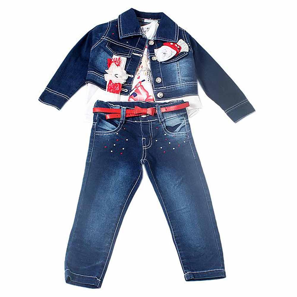 Miss Rose White/Blue Kiddies Top Trouser  n Jacket Set-1-2 Yrs