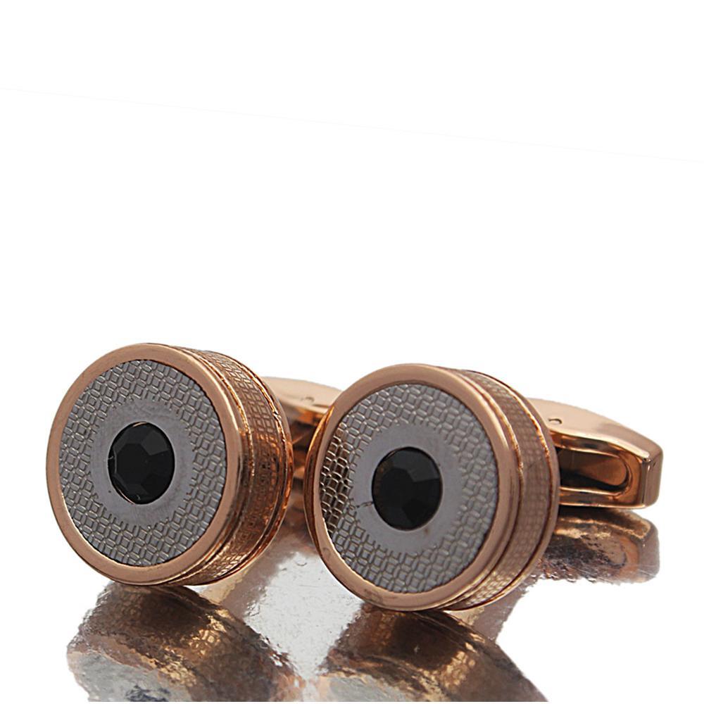 Rose Gold Black Stud Stainless Steel Cufflinks