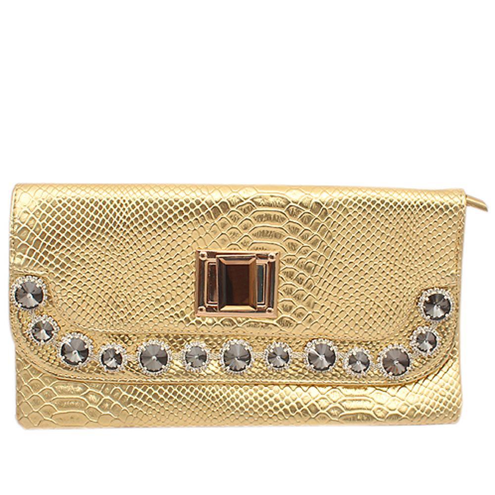Fashion Gold Studded Croc Leather Ladies Clutch Bag