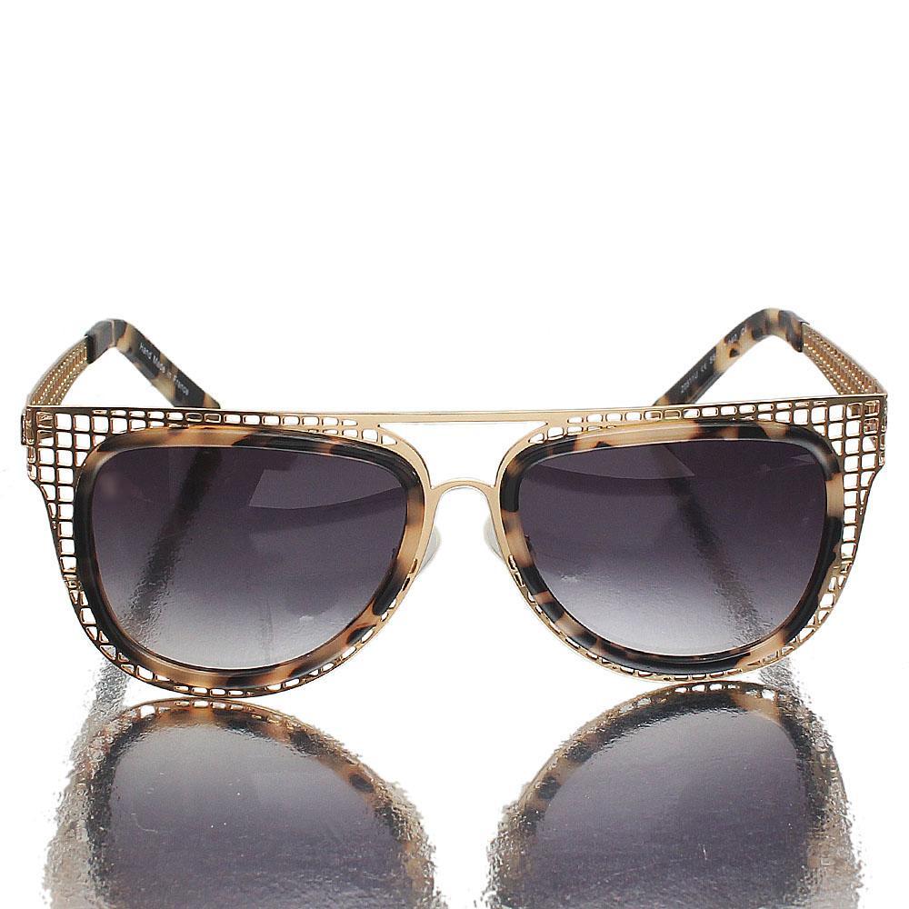 Gold Black Mix Oblong Dark Lens Sunglasses