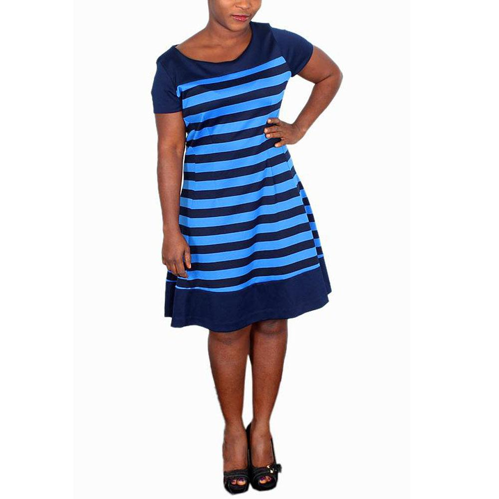 NYC Blue/Navy Blue Stripes Short Sleeve Ladies Dress-M