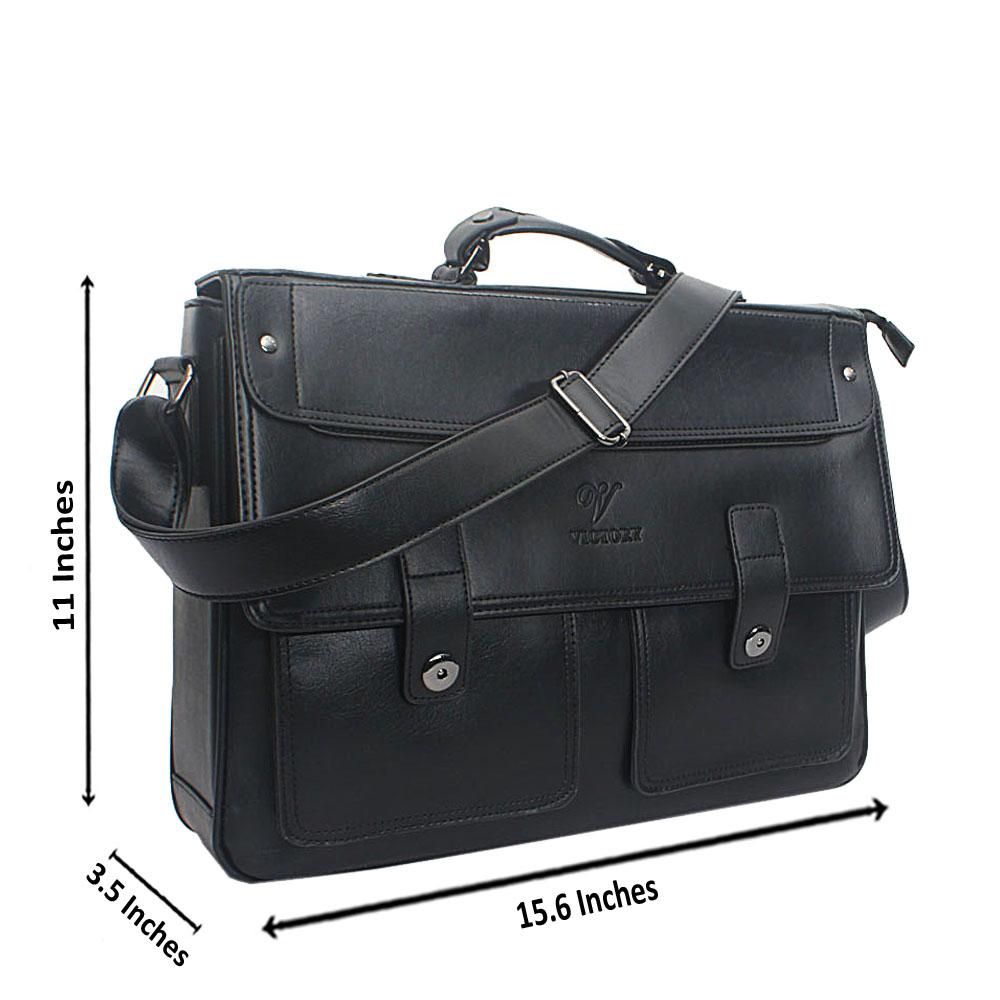 Black Double Pocket Leather Messenger Bag