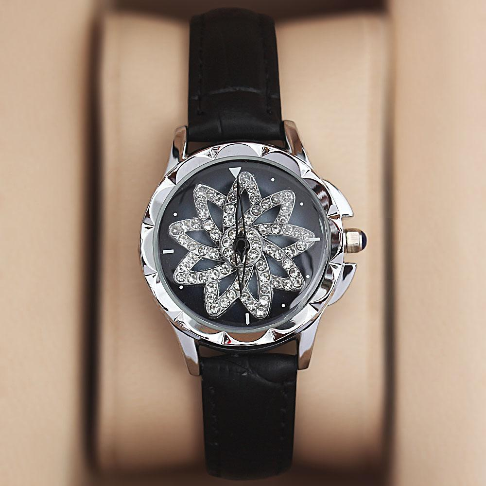 Silver Black Crystal Studded Leather Spinners Ladies Watch
