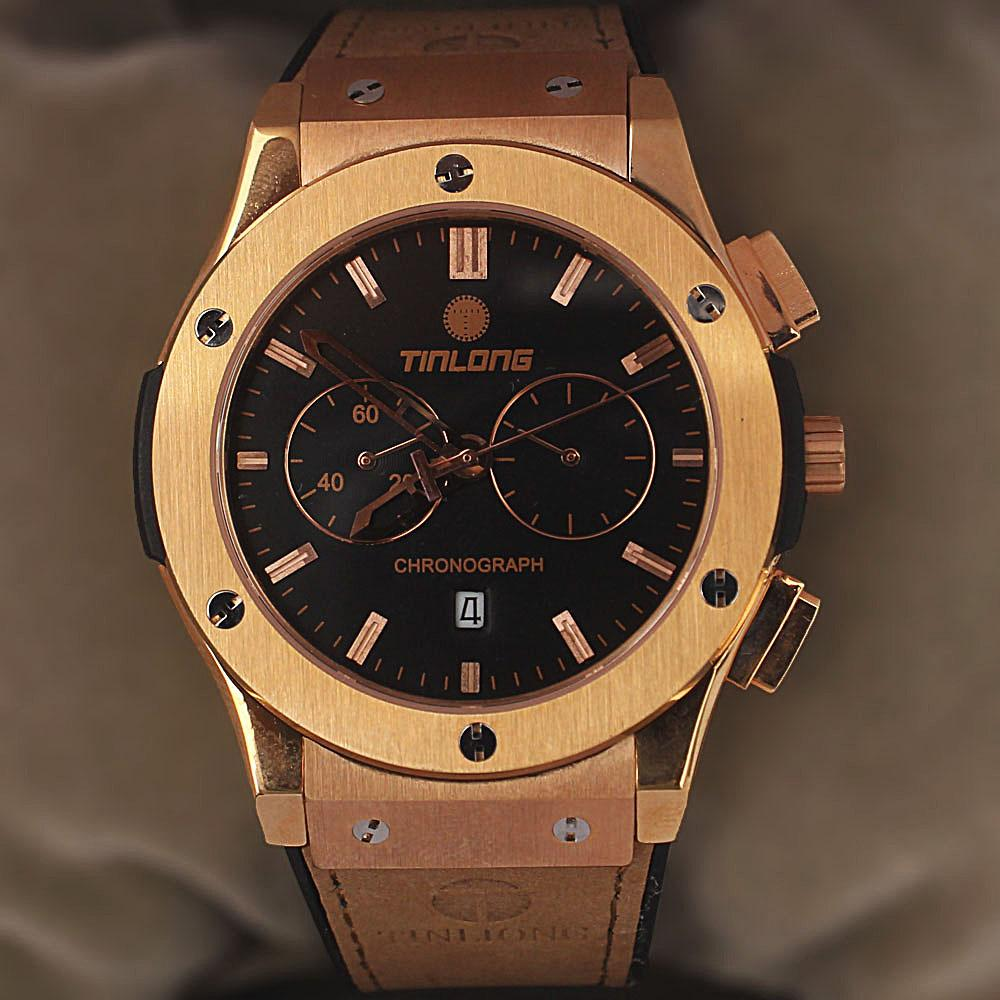 Khaki Brown Rubber Leather Chronograph Watch