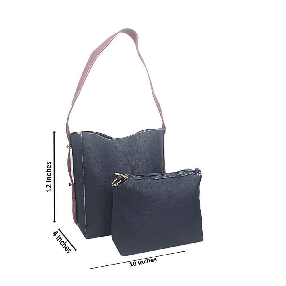Navy Purple Amelia Tandy Leather Shoulder Bag