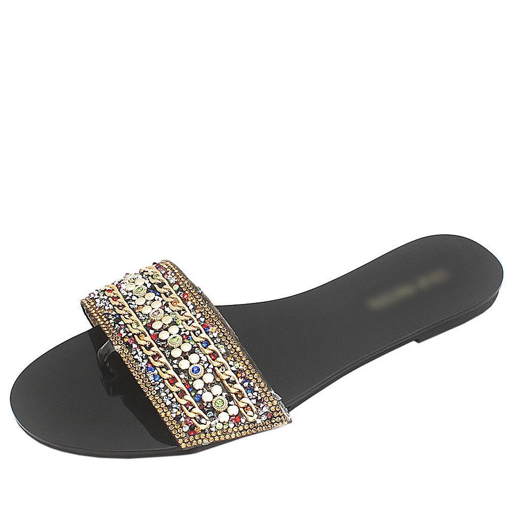 Steve Madden Black Studded Premium Leather Flat Slippers