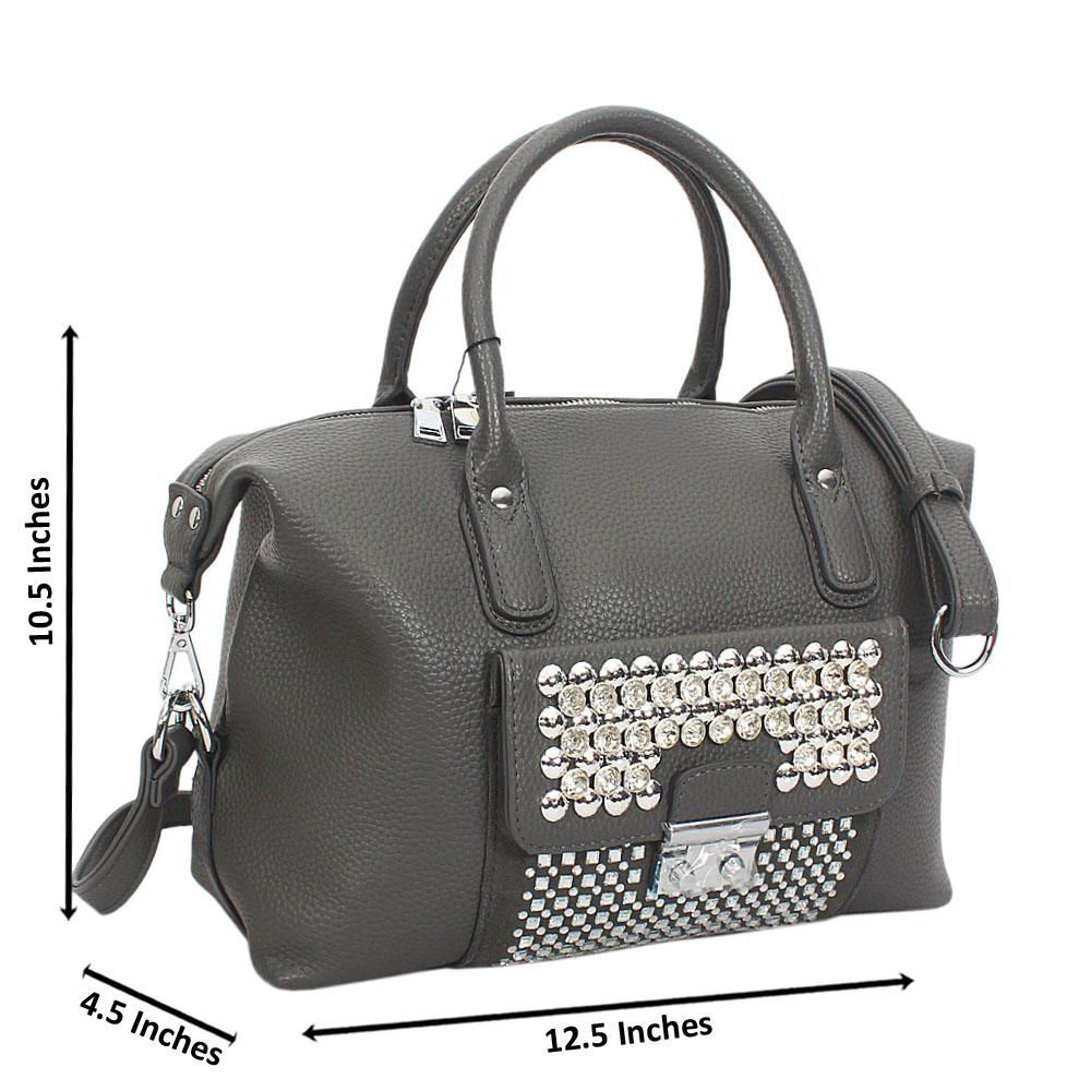 Gray Megan Studded Leather Tote Handbag