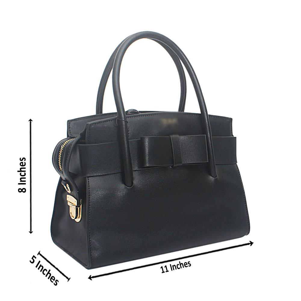 Black Bow Saffiano Leather Handbag