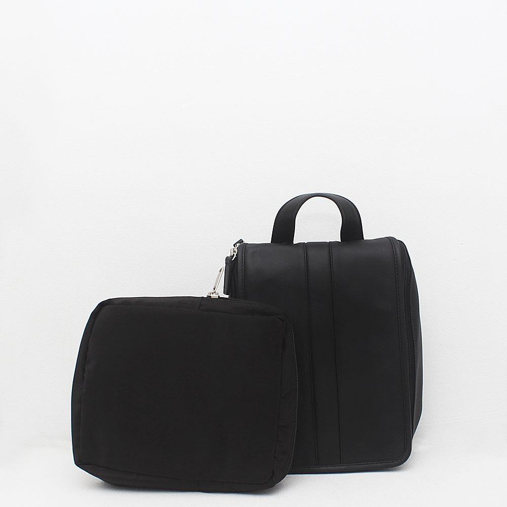 M & S Black Leather Hanging Washbag