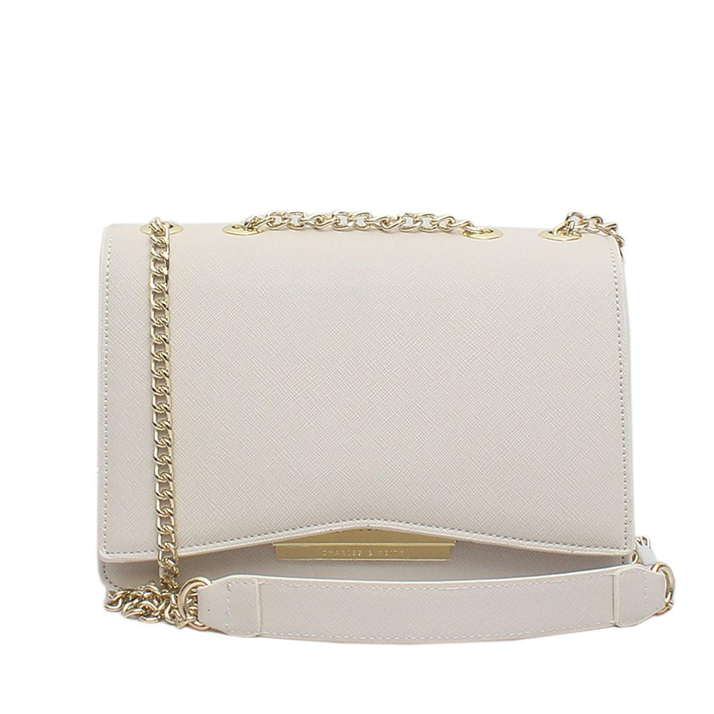 Charles Keith White Leather Small Cross Body Bag