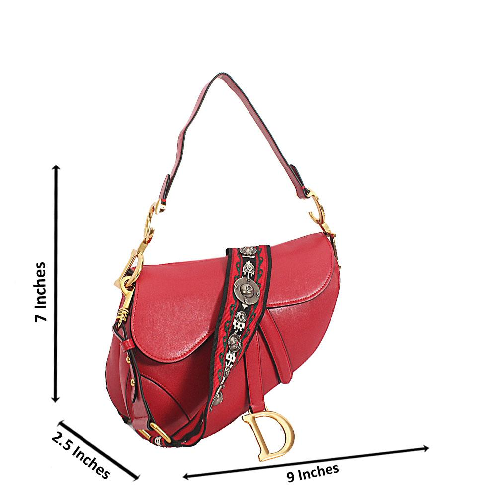 Red Cowhide Leather Saddle Crossbody Handbag