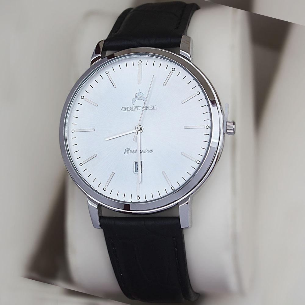 Christi Oneil Stainless Steel Ace Date Watch Wt Black Leather Strap
