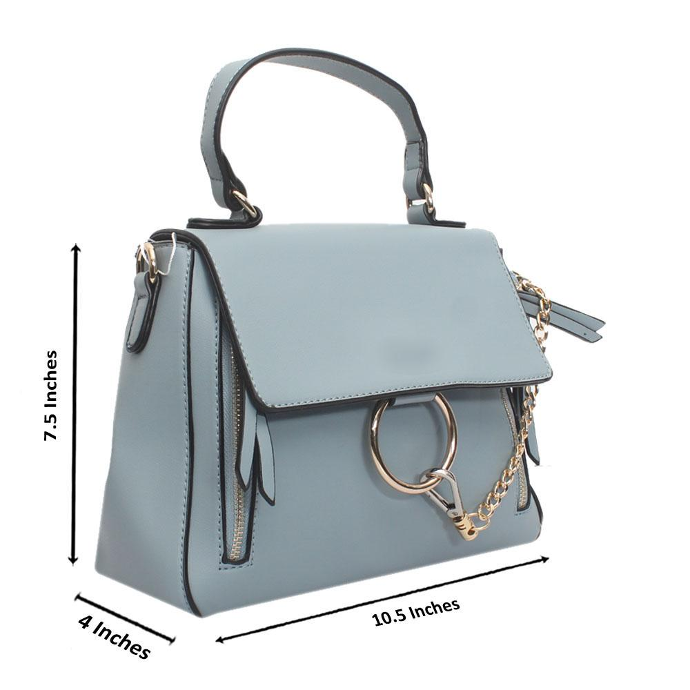 Sky Blue Leather Small Faye Day Bag