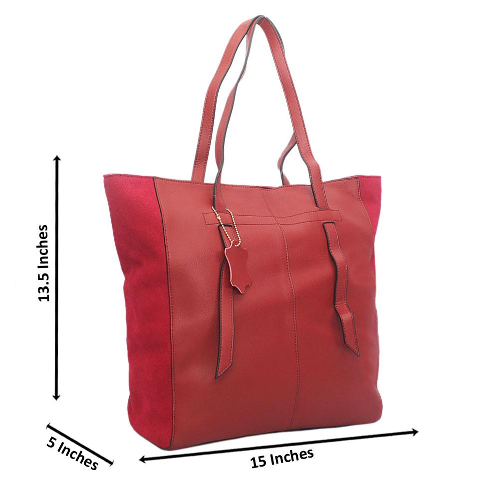 Exotic Wine Suede Mix Tall Tuscany Leather Shoulder Handbag