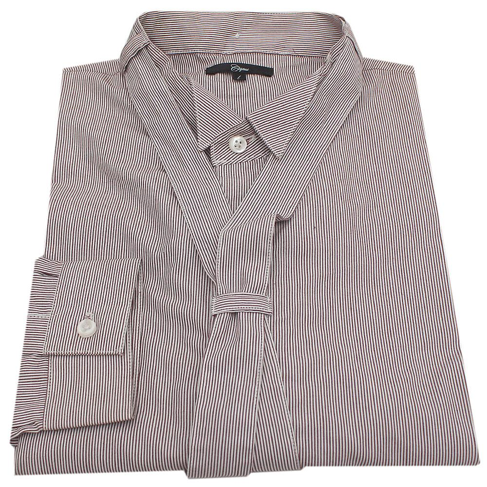 Corpus Brown-White Strip Mens Shirt