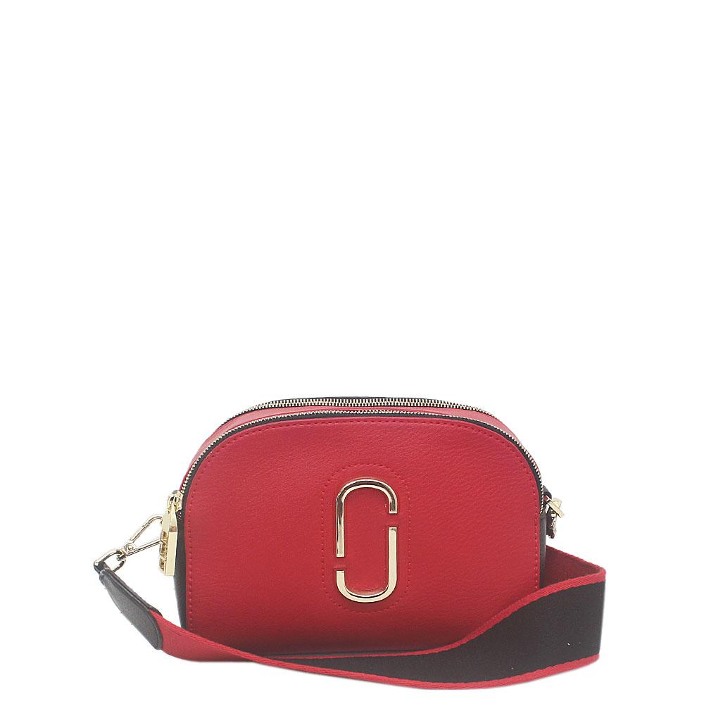Red Black Leather Small Shoulder Bag