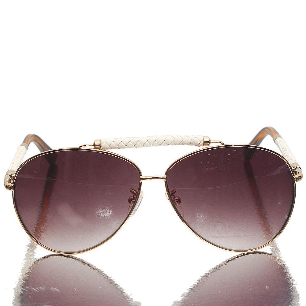 Gold White Black Aviator Brown Lens Sunglasses
