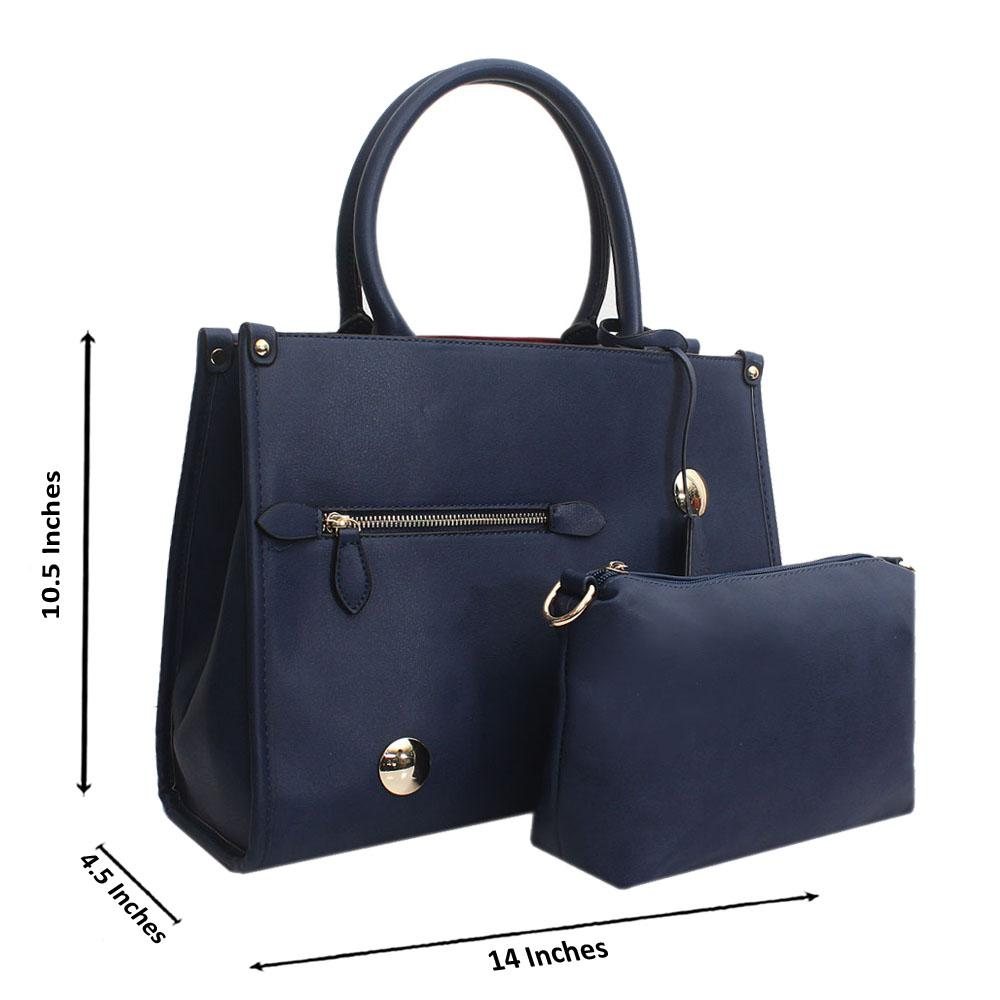 Navy Leather Medium Norah Handbag