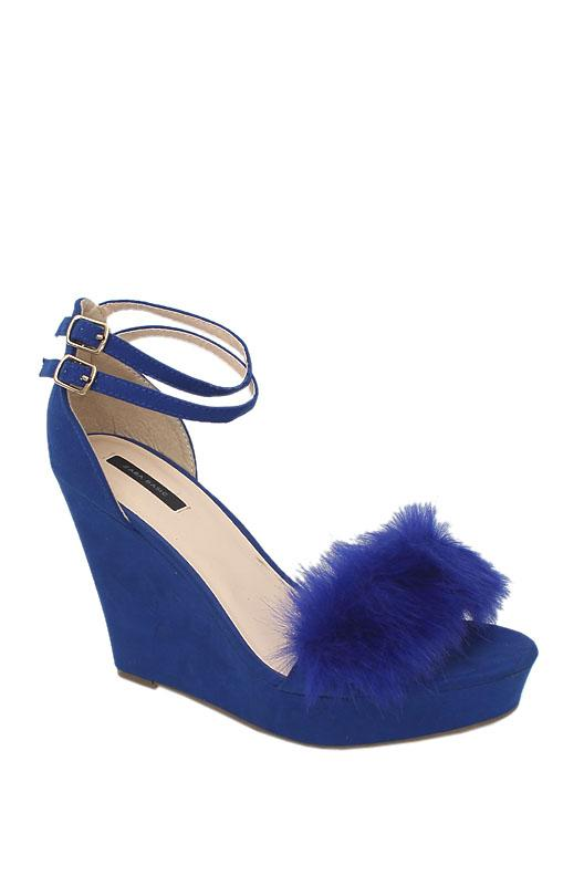 Zara Basic Blue Suede Wedge Sandal
