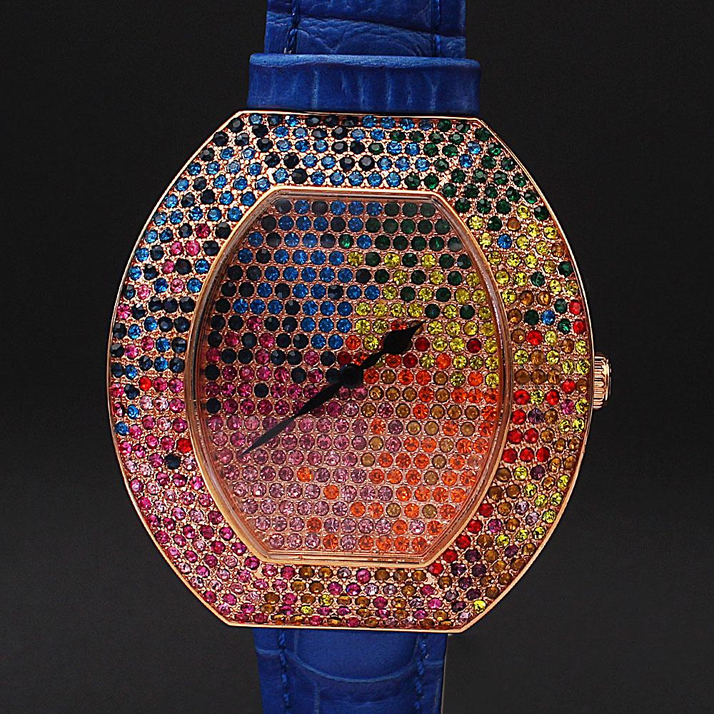 Blue Multi-colored Studded Leather Ladies Watch
