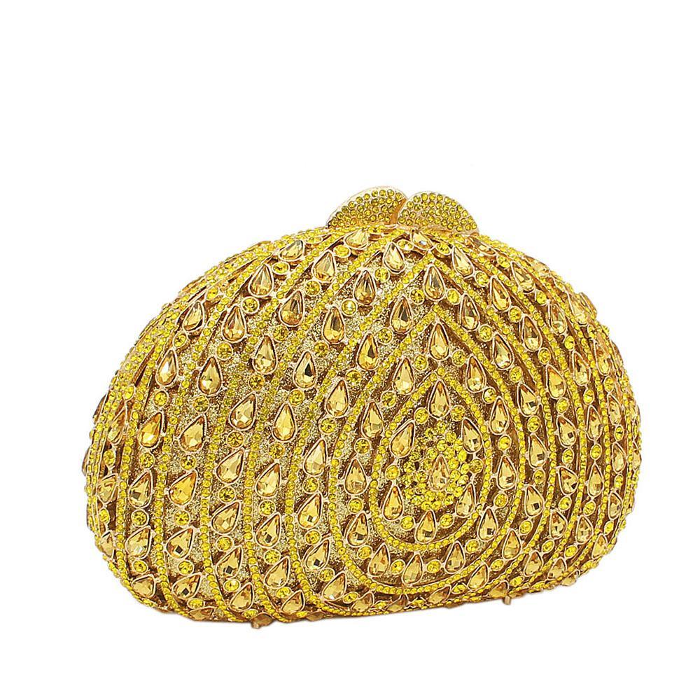 Yellow Rain Drops Diamante Crystals Clutch Purse
