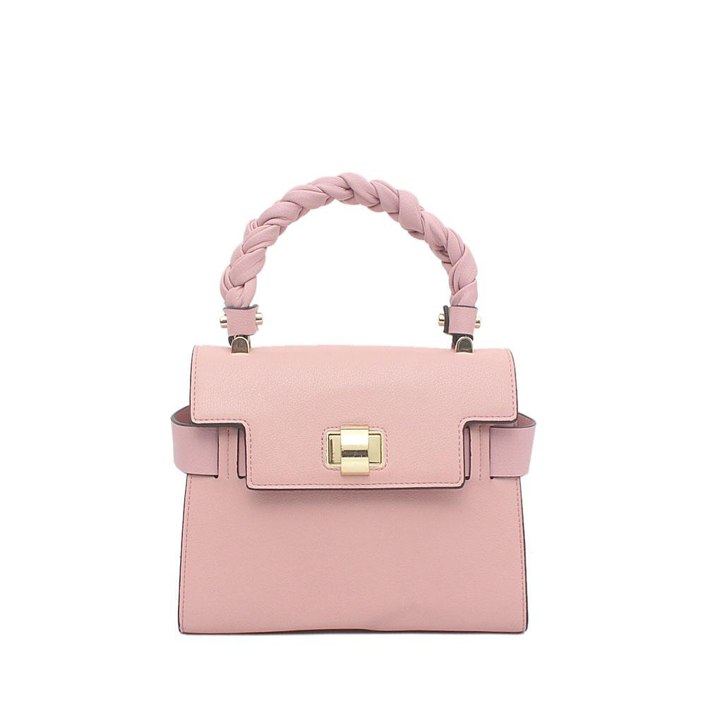 Pink Saffiano Leather Small Handle Bag
