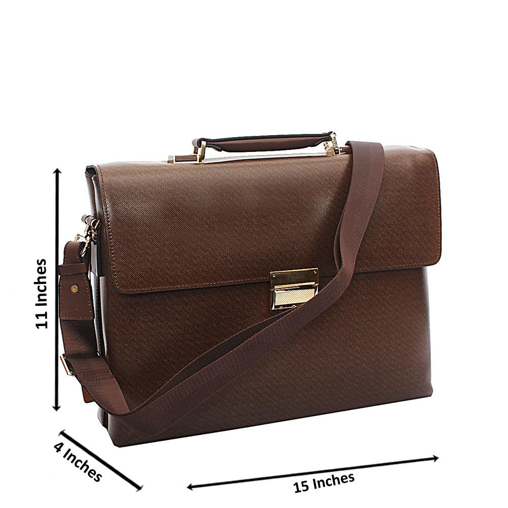 Brown Smooth Patterned Cowhide Leather Briefcase wt Front Lock