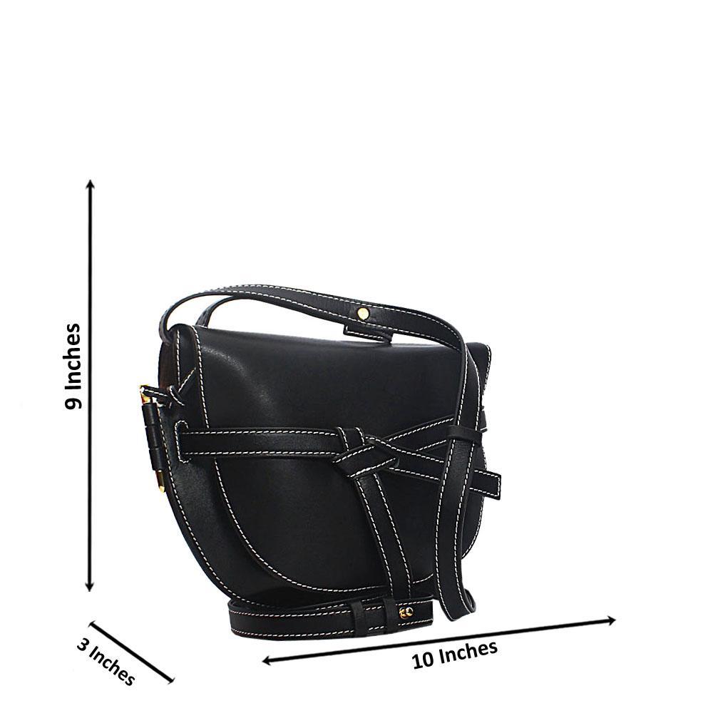 Black Pisa Cow Leather Saddle Handbag