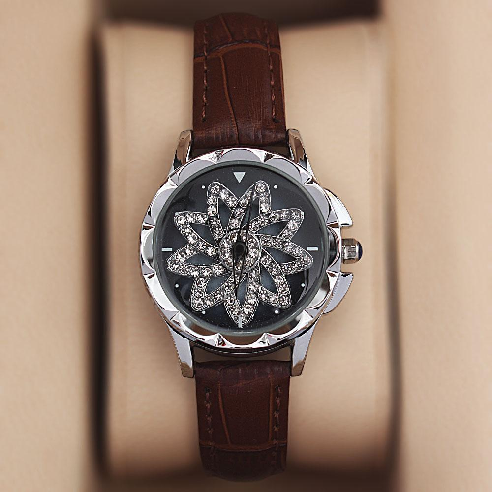 Silver Brown Crystal Studded Leather Spinners Ladies Watch