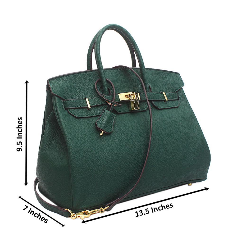 Green Leather Medium Birkin Matte Bag