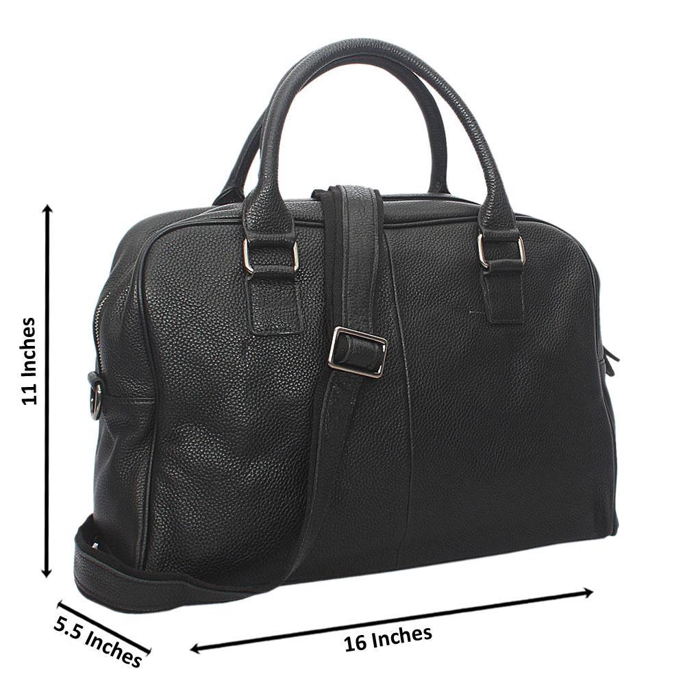 Black Vinny Grain Leather Briefcase
