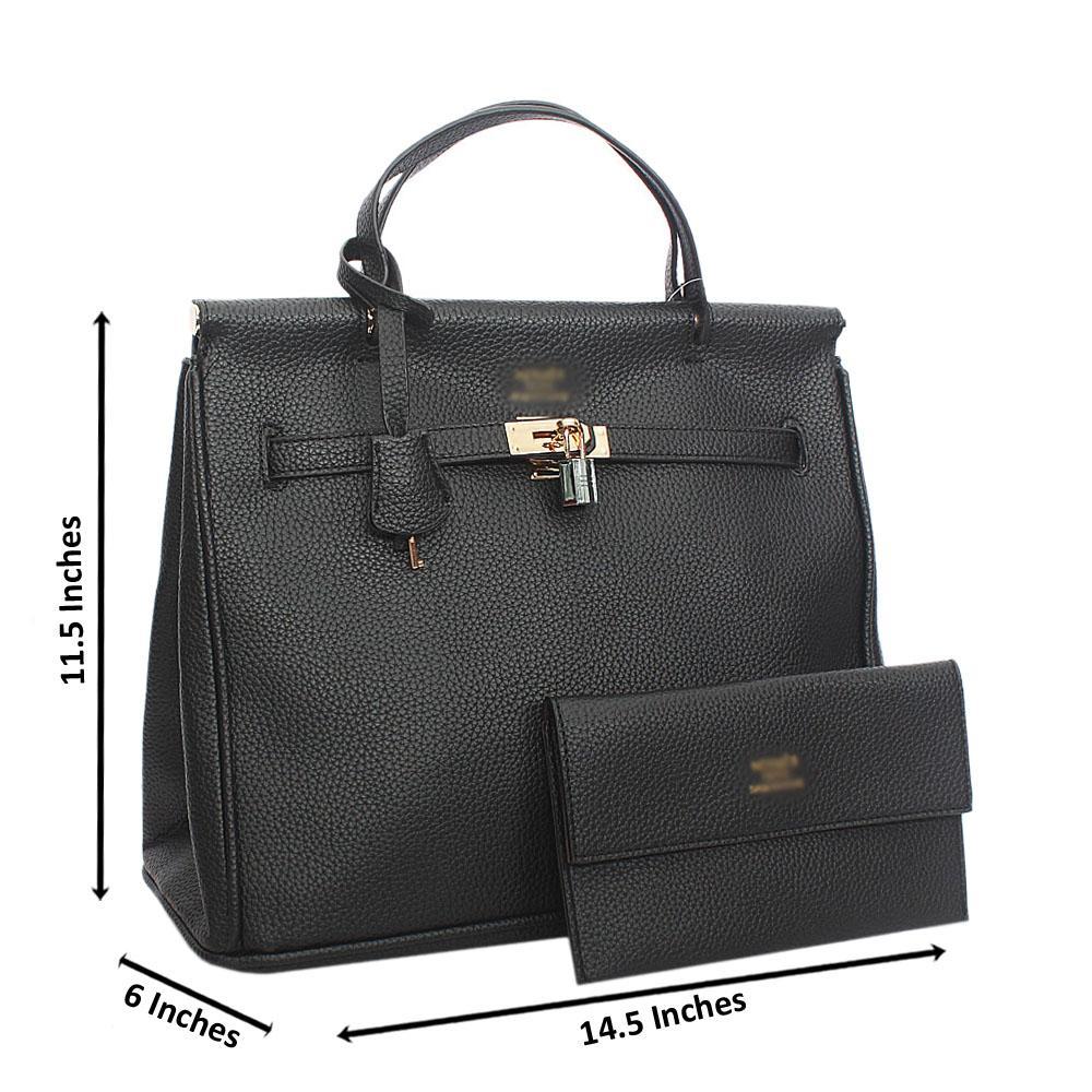 Black Leather Tote Handbag