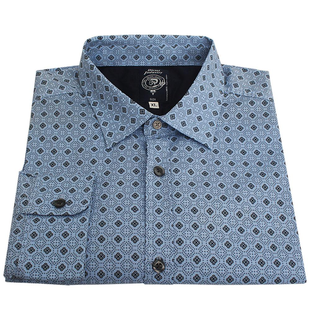 Diesel Blue L/Sleeve Men Casual Shirt