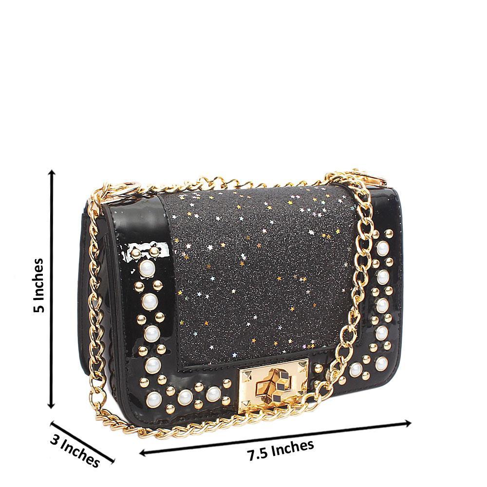 Black Rose Pearl  Glitz Patent Leather Mini Crossbody Bag