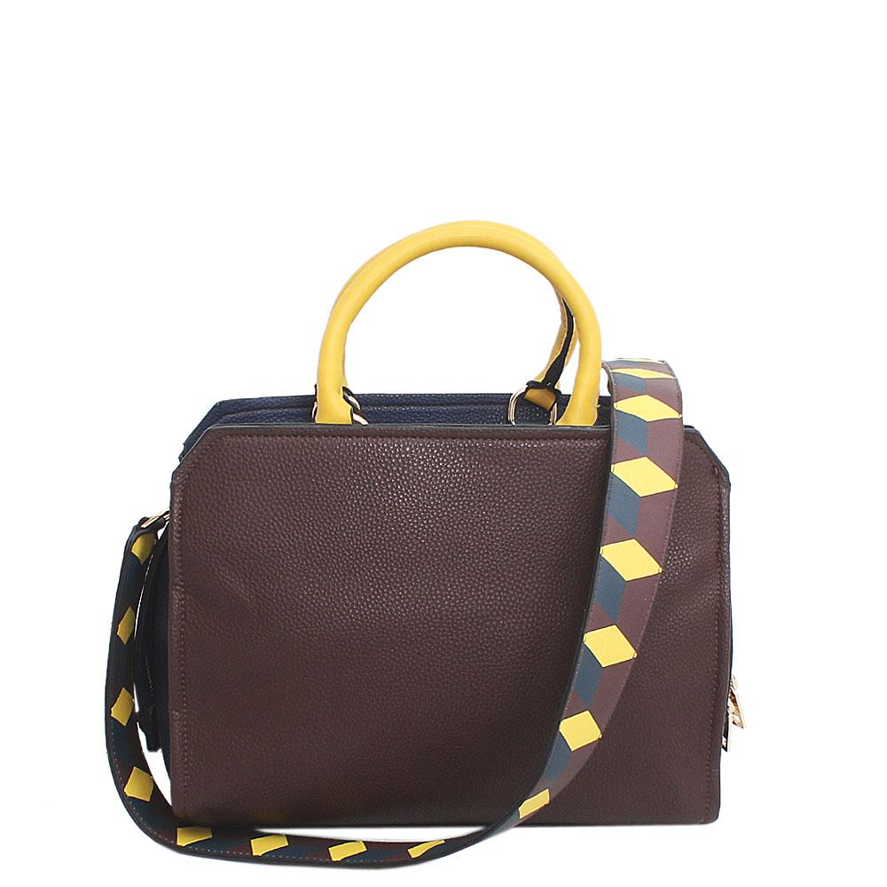 Essence Brown Yellow Navy Leather Tote Bag