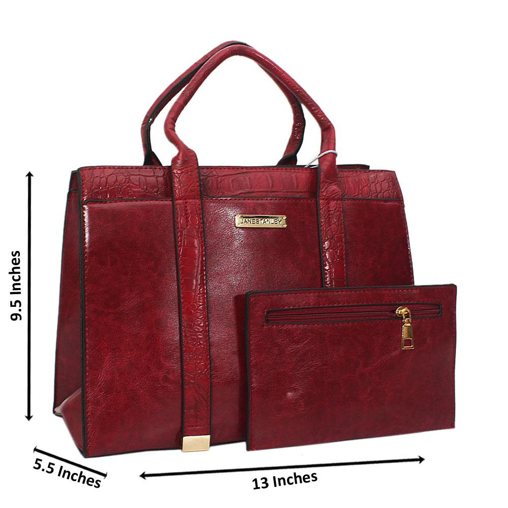 Jane Stanley Ace Wine Leather Tote Handbag