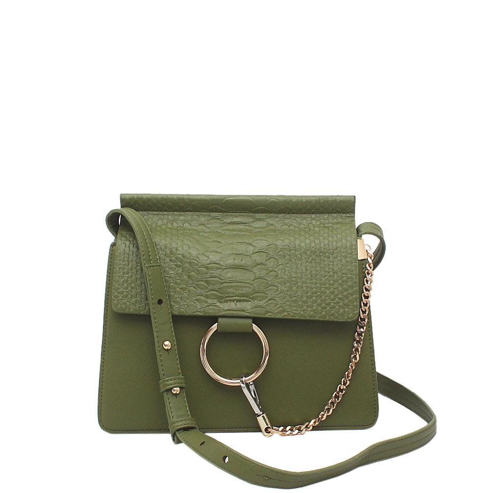 Green Leather Small Crossbody Bag