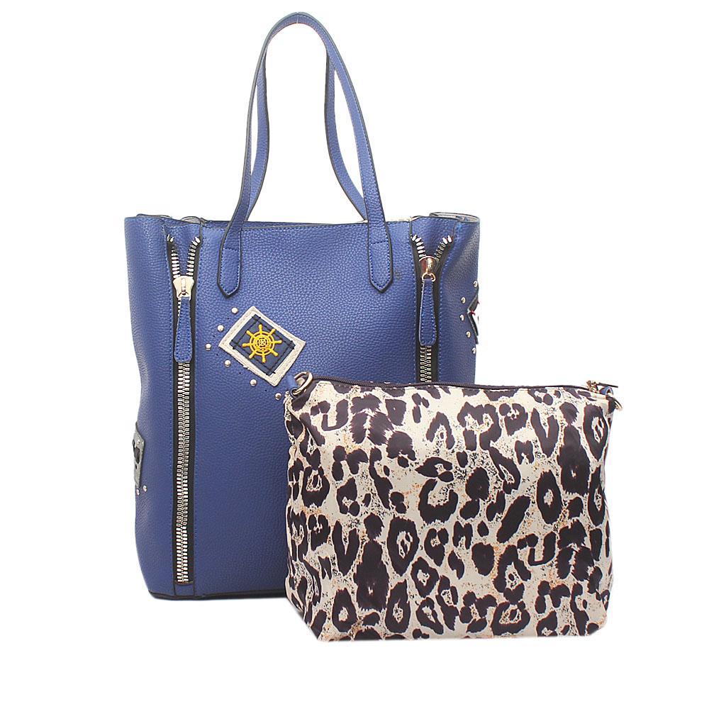 London Style Blue Leather  Shoulder  Bag Wt Purse
