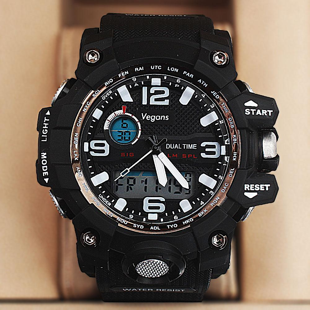 Vegans Black Dual Time Watch wt Extra Straps