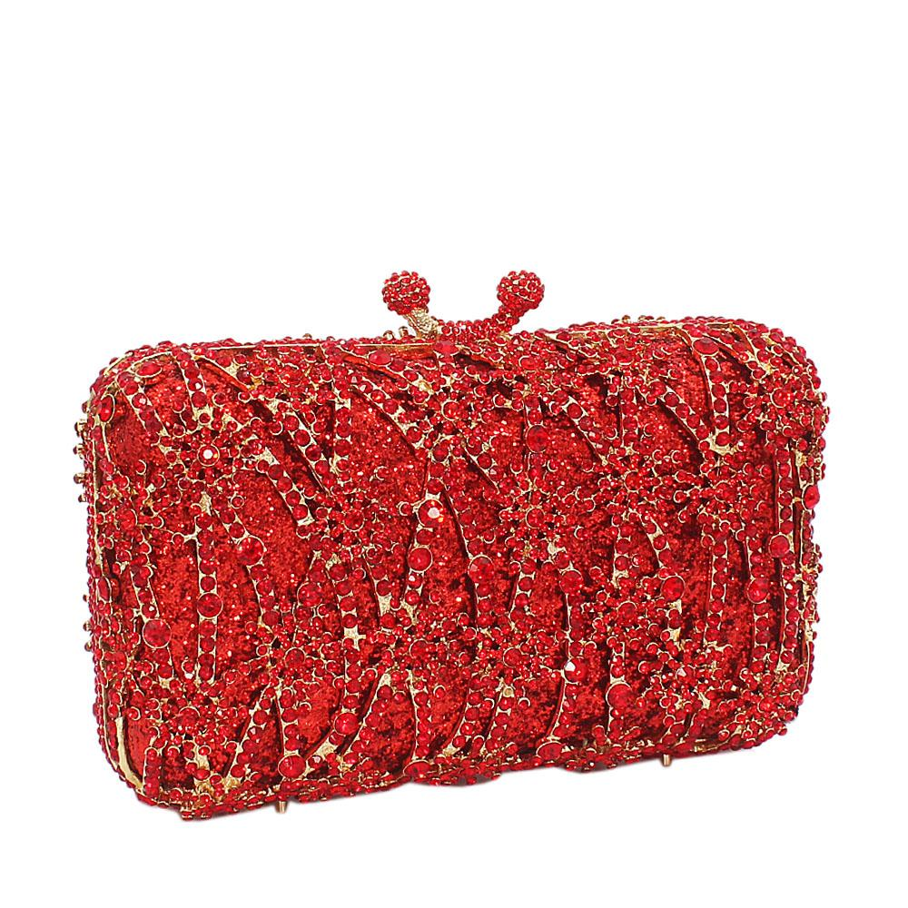 Red Gold Diamante Crystal Clutch Purse