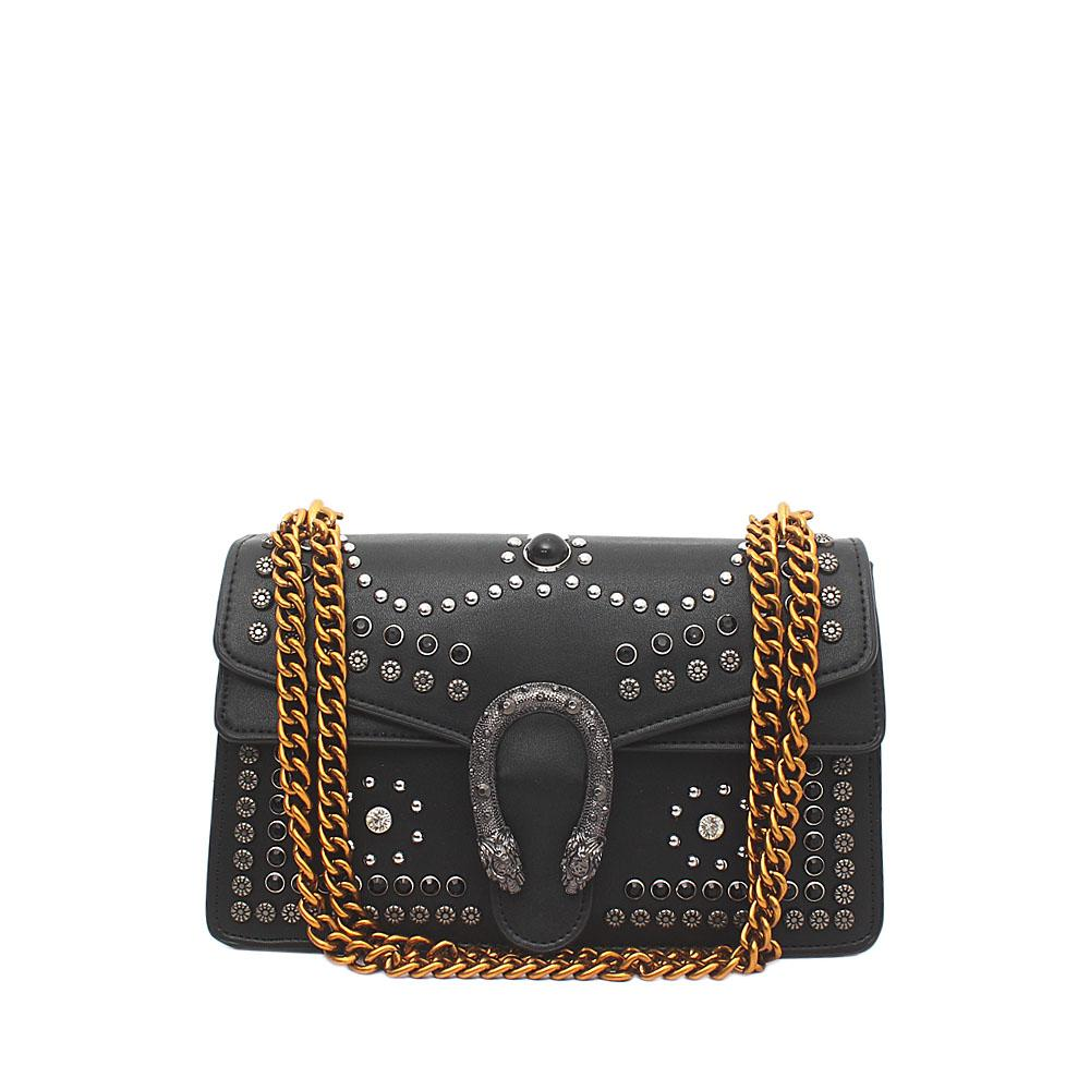 Black Saffiano Leather Studded Dionysus Bag