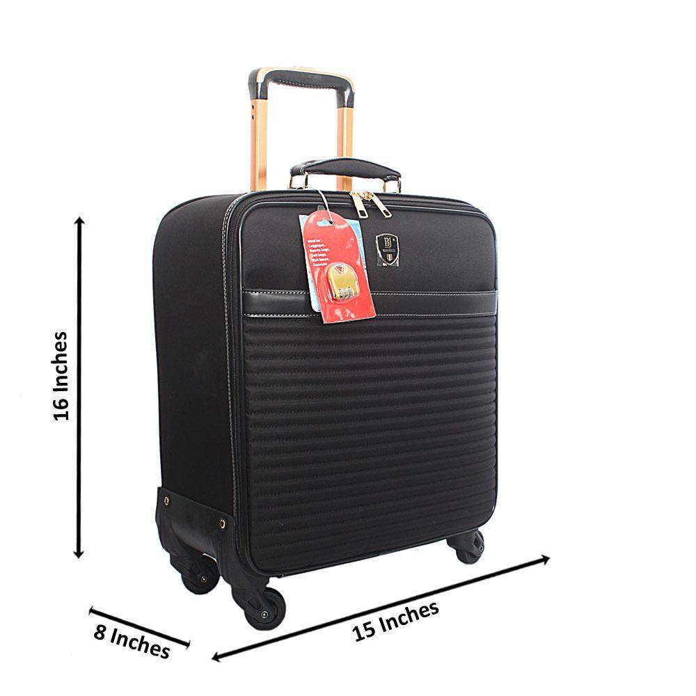 Black Fabric Pilot Suitcase Wt Lock