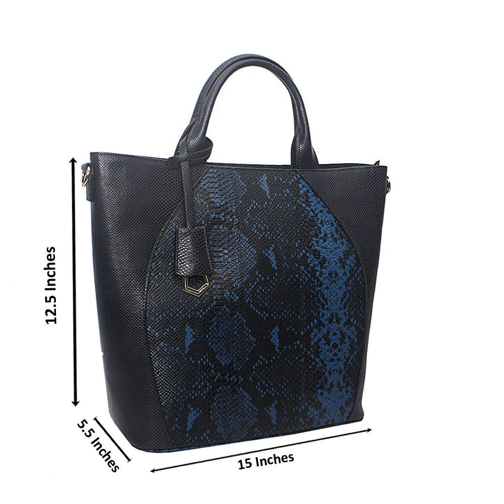 Meliana Navy Narrow Snake Montana Leather Handbag