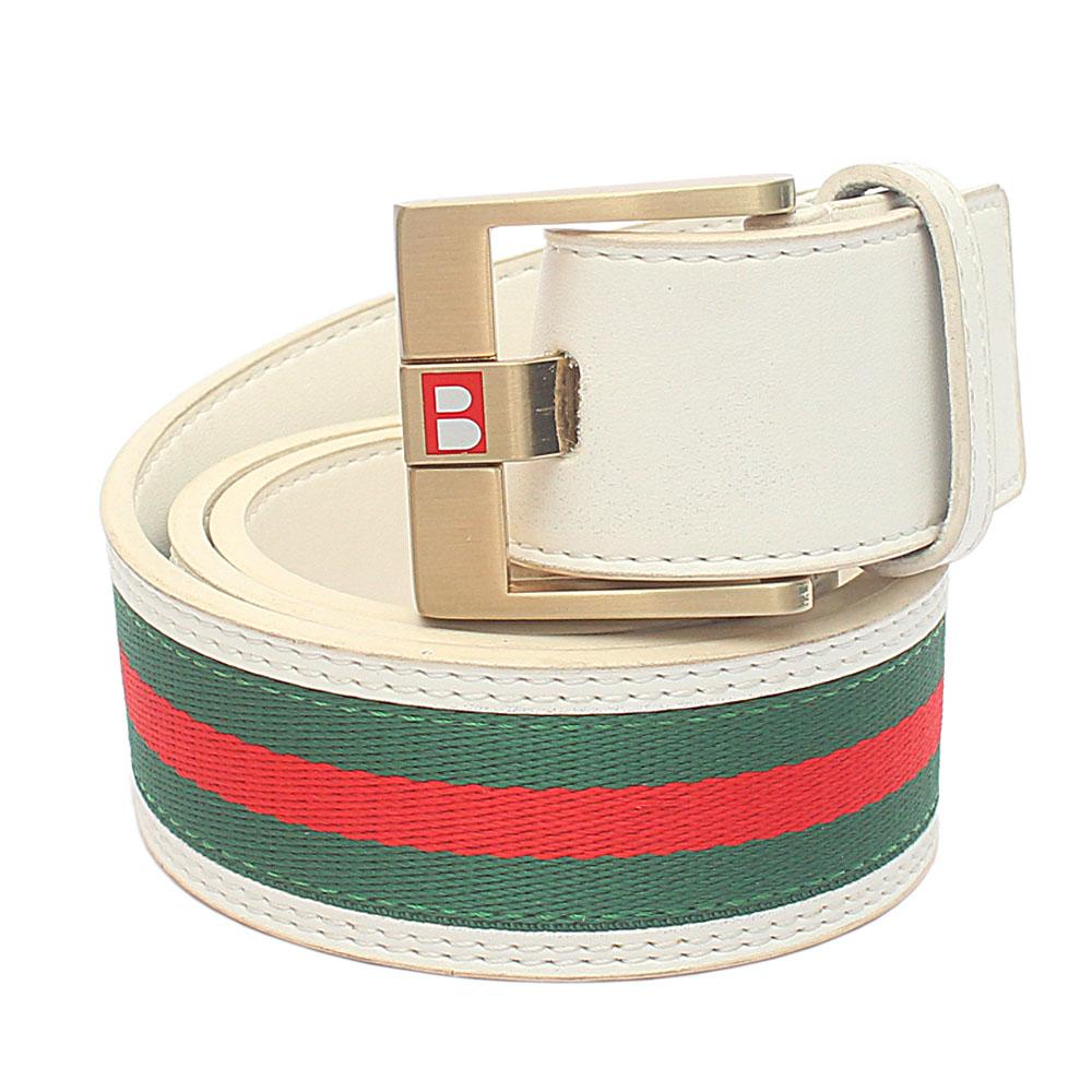 White Green Red Fabric Leather Belt L 44 Inches