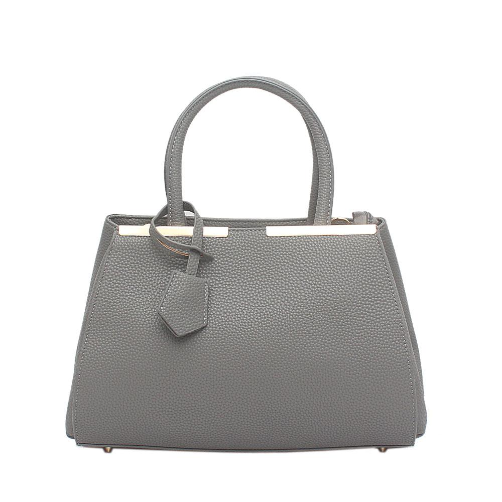 London  Style Grey Leather Handbag