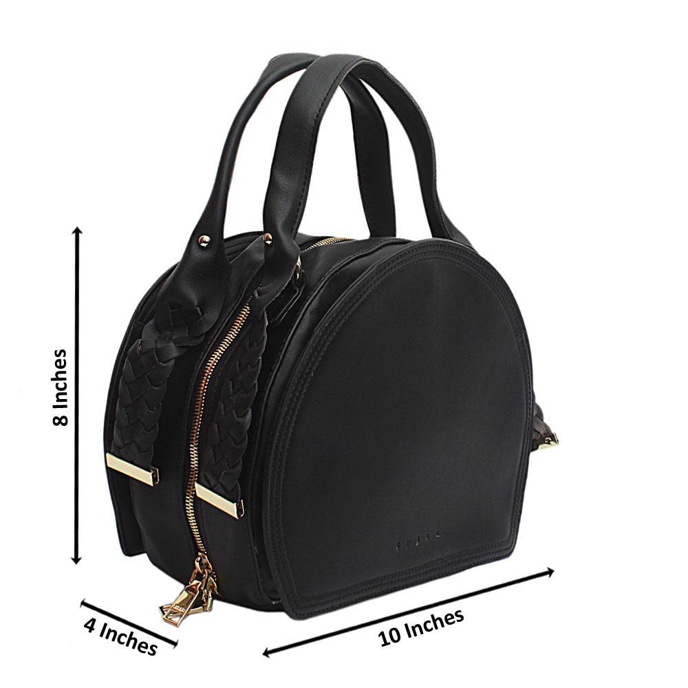 Susen Black Woven Handle Leather Handbag