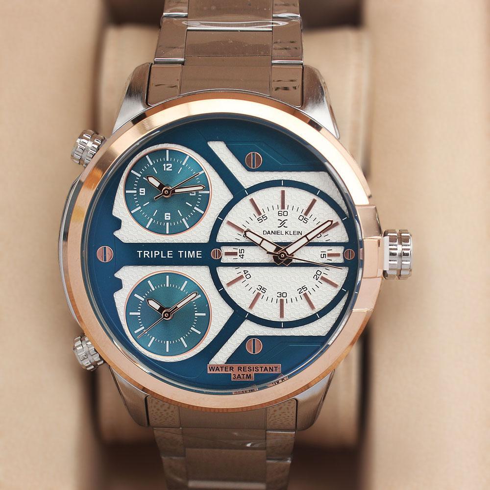 Daniel Klein Triple Time Silver Blue Fashion Watch