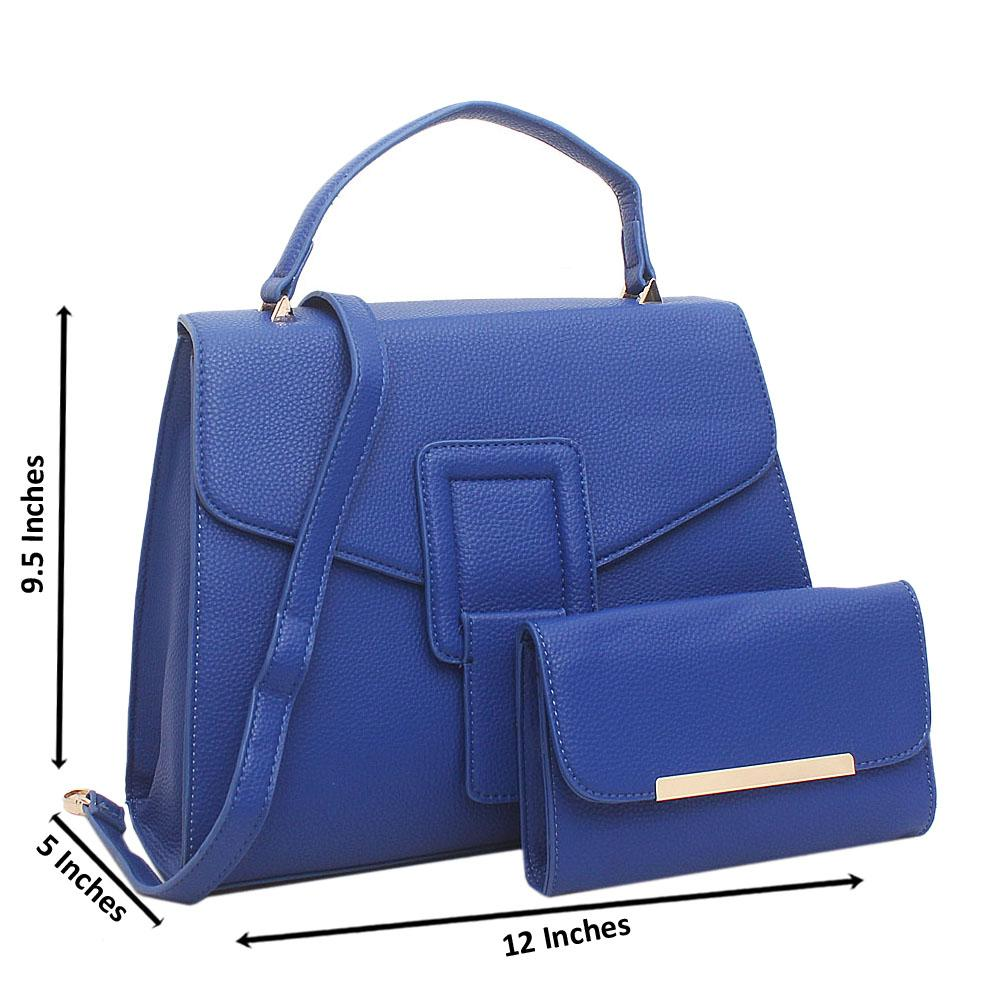 Blue Blossom Medium Leather Handbag
